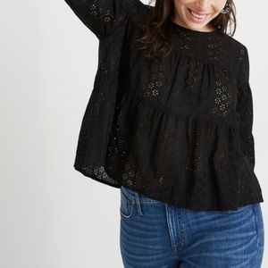 Madewell Black Eyelet Tiered Button-Back Top